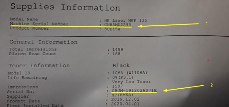 HP 135w отчет о расходных материалах